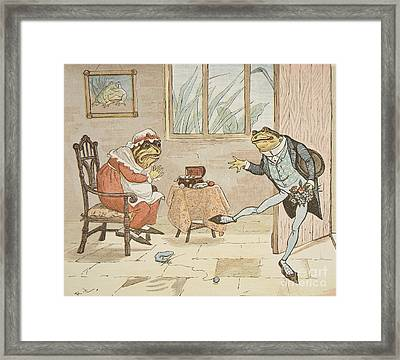 A Frog He Would A Wooing Go Framed Print by Randolph Caldecott