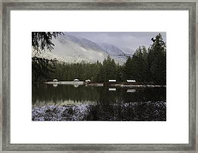 Framed Print featuring the pyrography A Frost Day At The Lake. by Timothy Latta