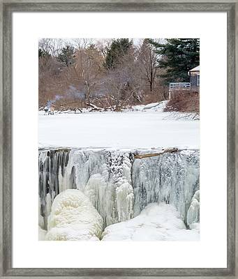 A Frozen Waterfall Barbecue   Framed Print by Stroudwater Falls Photography