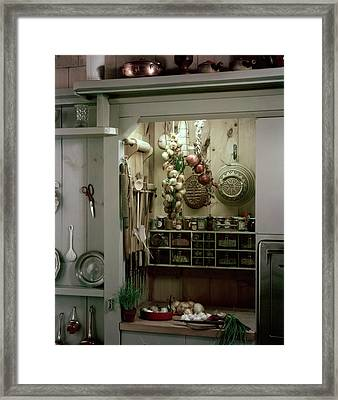 A Full Spice Rack In A Kitchen Framed Print by Haanel Cassidy