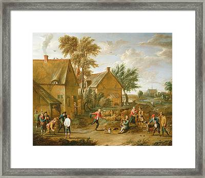 A Game Of Bowls By A Tavern Framed Print