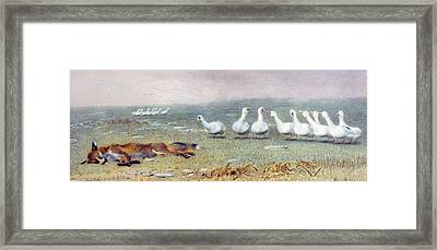 A Game Of Fox And Geese, 1868 Framed Print by Briton Riviere