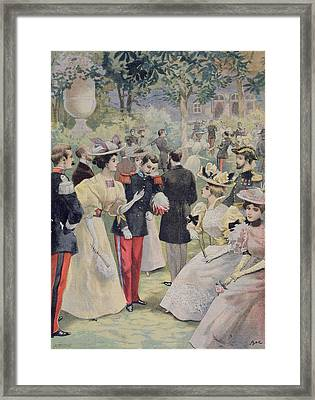 A Garden Party At The Elysee Framed Print by Fortune Louis Meaulle