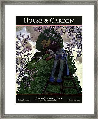 A Gardener Pruning A Tree Framed Print