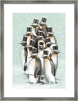 A Gathering In The Snow Framed Print