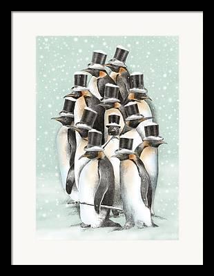 Penguins Drawings Framed Prints
