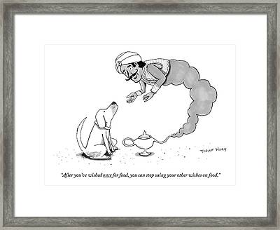 A Genie Has Emerged From A Genie Lamp Framed Print