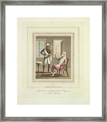 A Gentleman And A Barber Framed Print by British Library
