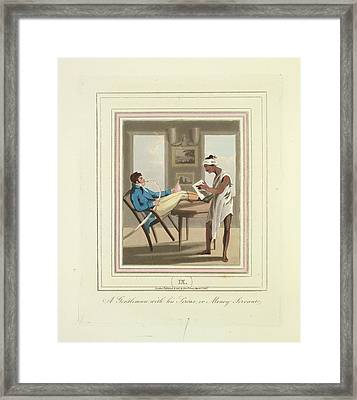 A Gentleman And A Money Servant Framed Print by British Library