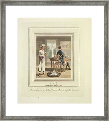A Gentleman And A Pipe Bearer Framed Print by British Library