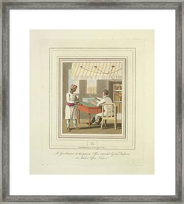 A Gentleman And An Office Keeper Framed Print by British Library