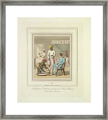 A Gentleman Dressing Framed Print by British Library