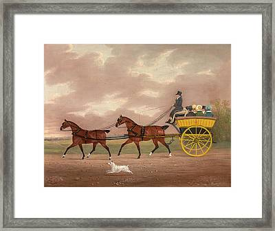 A Gentleman Driving Tandem To A Jaunting Car Going Framed Print by Litz Collection
