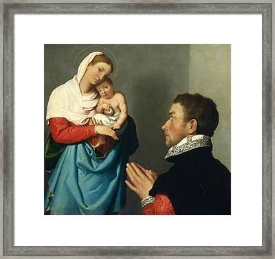 A Gentleman In Adoration Before The Madonna Framed Print by Giovanni Battista Moroni