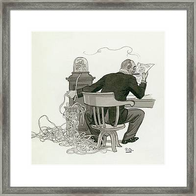 A Gentleman Reading Next To A Ticket Tape Machine Framed Print