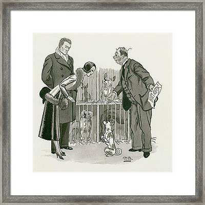 A Gentleman Selling Dogs Framed Print by Pierre Brissaud