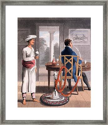 A Gentleman With His Hookah Burdah, Or Framed Print by Charles D'Oyly