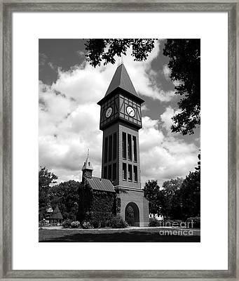 A German Bell Tower Bw Framed Print by Mel Steinhauer