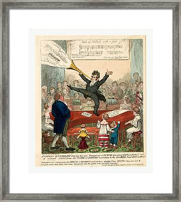 A German Mountebank Blowing His Own Trumpet At A Dutch Framed Print