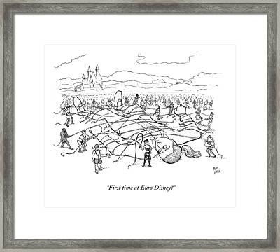 A Giant Man Is Tied Down By Many Men And Women Framed Print by Paul Noth