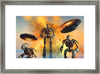 A Giant Robot Force On The Attack Framed Print by Mark Stevenson