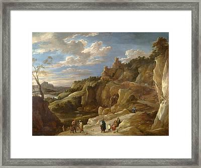 A Gipsy Fortune Teller In A Hilly Landscape Framed Print