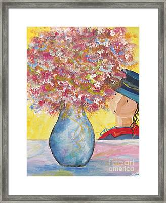 Framed Print featuring the painting A Girl And Her Flower Vase. by Nereida Rodriguez