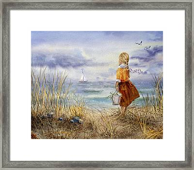 A Girl And The Ocean Framed Print