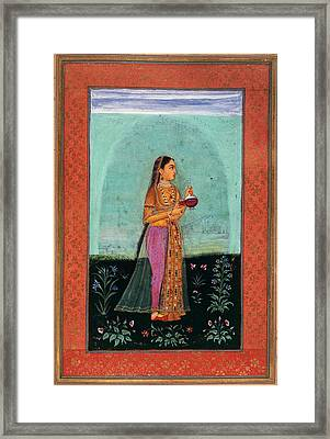 A Girl Holding A Glass & Cup Framed Print