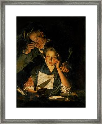 A Girl Reading A Letter, With An Old Man Reading Over Her Shoulder, C.1767-70 Framed Print by Joseph Wright of Derby