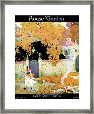 A Girl Sweeping Leaves Framed Print by The Reeses