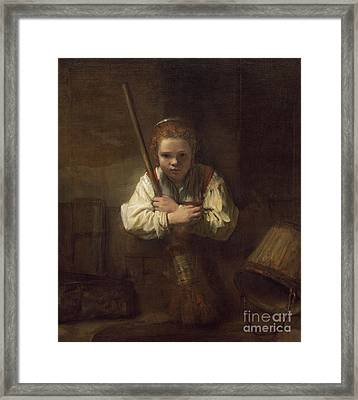 A Girl With A Broom Framed Print by Rembrandt