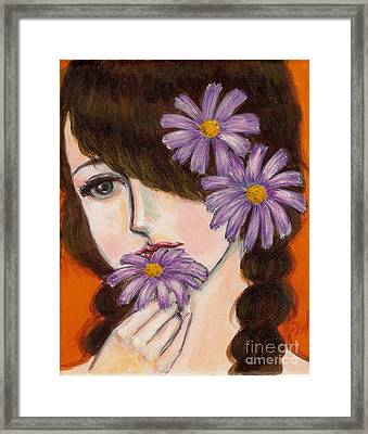 Framed Print featuring the painting A Girl With Daisies by Jingfen Hwu