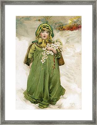 A Girl With Flowers In Snow Framed Print by Mary Evans