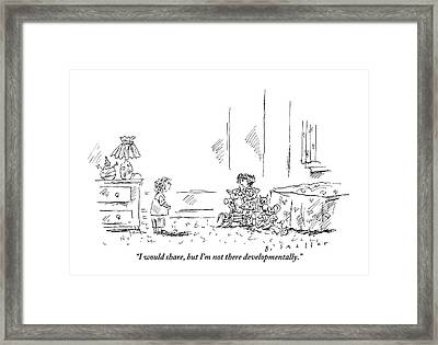 A Girl With Lots Of Toys Is Seen Speaking Framed Print