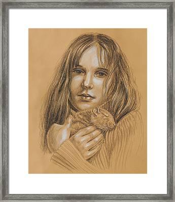 A Girl With The Pet Framed Print by Irina Sztukowski
