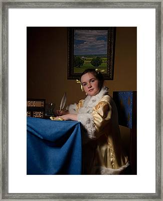 A Girl Writing Framed Print