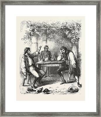 A Glass Of Wine In The Garden, The Count Of Monte Christo Framed Print