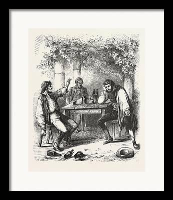 Images Of Wine Bottles Drawings Framed Prints