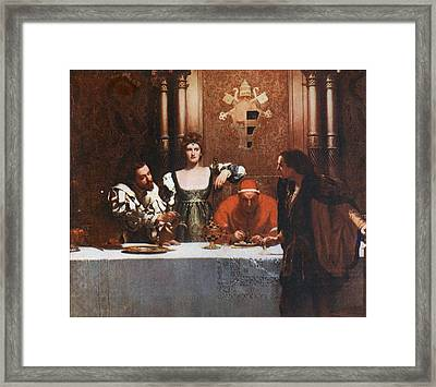 A Glass Of Wine With Caesar Borgia Framed Print by Philip Ralley