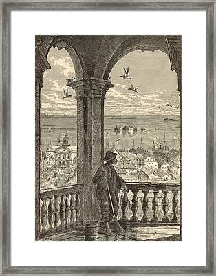 A Glimpse Of Charleston And Bay From St. Michael's Church 1872 Engraving By Harry Fenn Framed Print