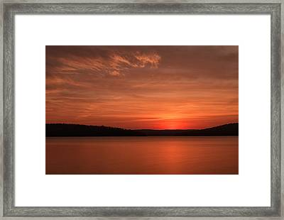 A Glorious Dawn Over The Quabbin As Seen From The End Of Old Enf Framed Print by Stephen Gingold