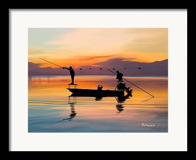 Fishing Digital Art Framed Prints