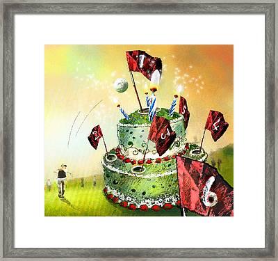 A Golfers Birthday Cake Framed Print by Miki De Goodaboom