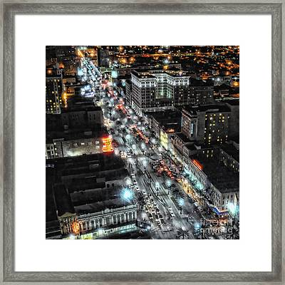 A Gothic Night In New Orleans On Canal Street Framed Print by Kathleen K Parker