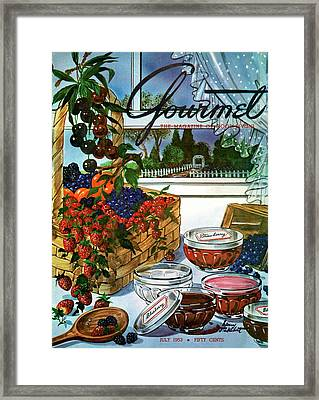 A Gourmet Cover Of A Fruit Basket Framed Print by Henry Stahlhut