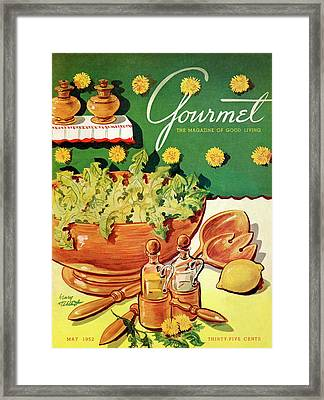 A Gourmet Cover Of Dandelion Salad Framed Print by Henry Stahlhut
