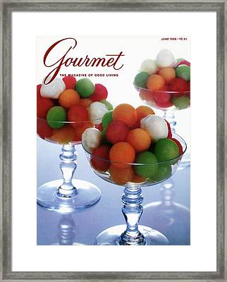 A Gourmet Cover Of Melon Balls Framed Print by Romulo Yanes