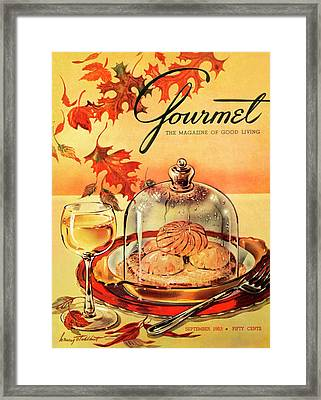 A Gourmet Cover Of Mushrooms On Toast Framed Print by Henry Stahlhut