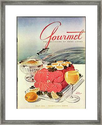 A Gourmet Cover Of Poached Salmon Framed Print